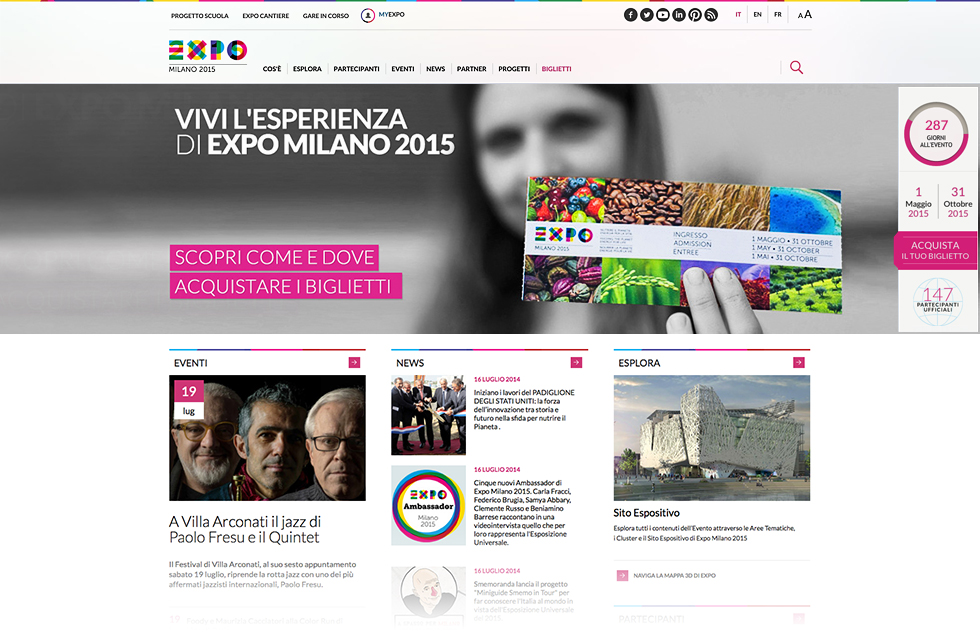 EXPO 2015 SITO ISTITUZIONALE